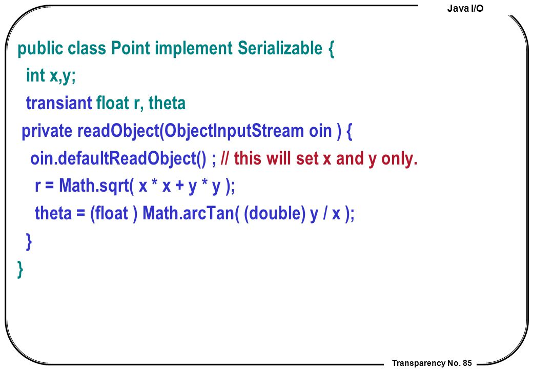 public class Point implement Serializable {
