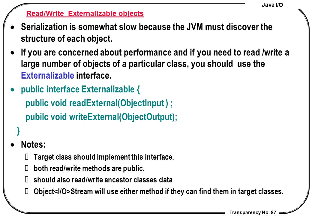 Read/Write Externalizable objects