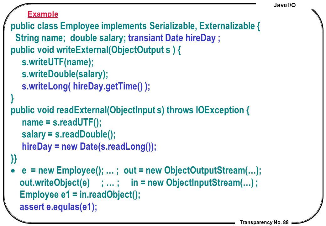 public class Employee implements Serializable, Externalizable {
