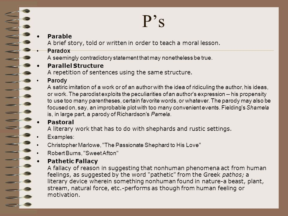 P's Parable A brief story, told or written in order to teach a moral lesson.