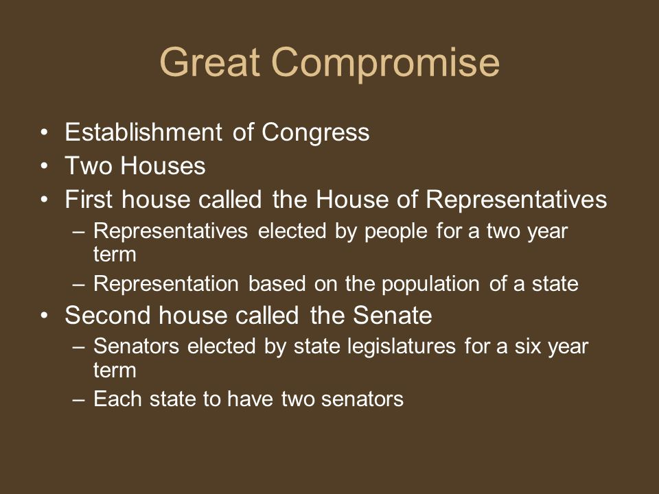 Great Compromise Establishment of Congress Two Houses