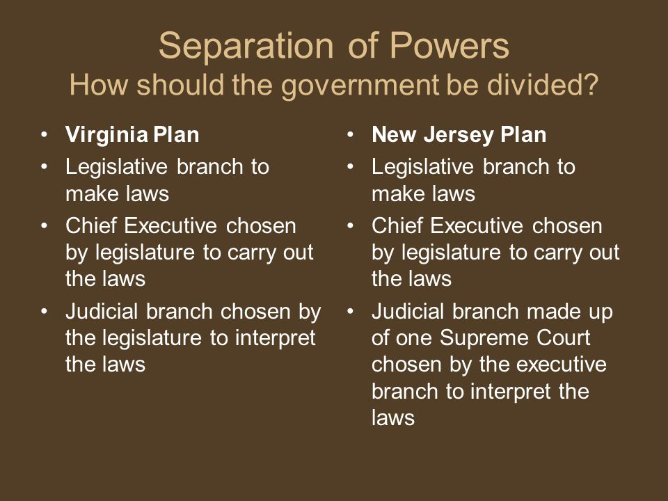 Separation of Powers How should the government be divided