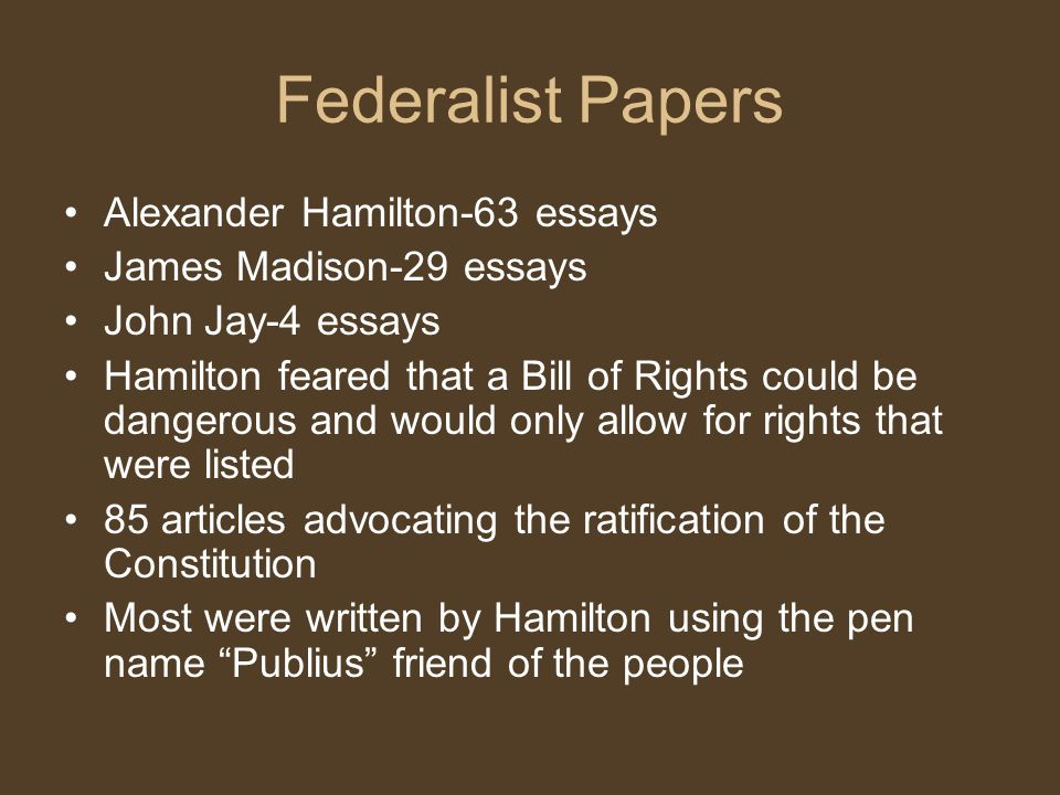 Federalist Papers Alexander Hamilton-63 essays James Madison-29 essays