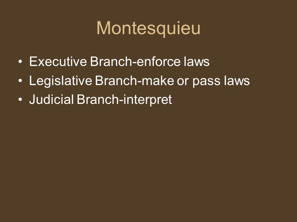 Montesquieu Executive Branch-enforce laws