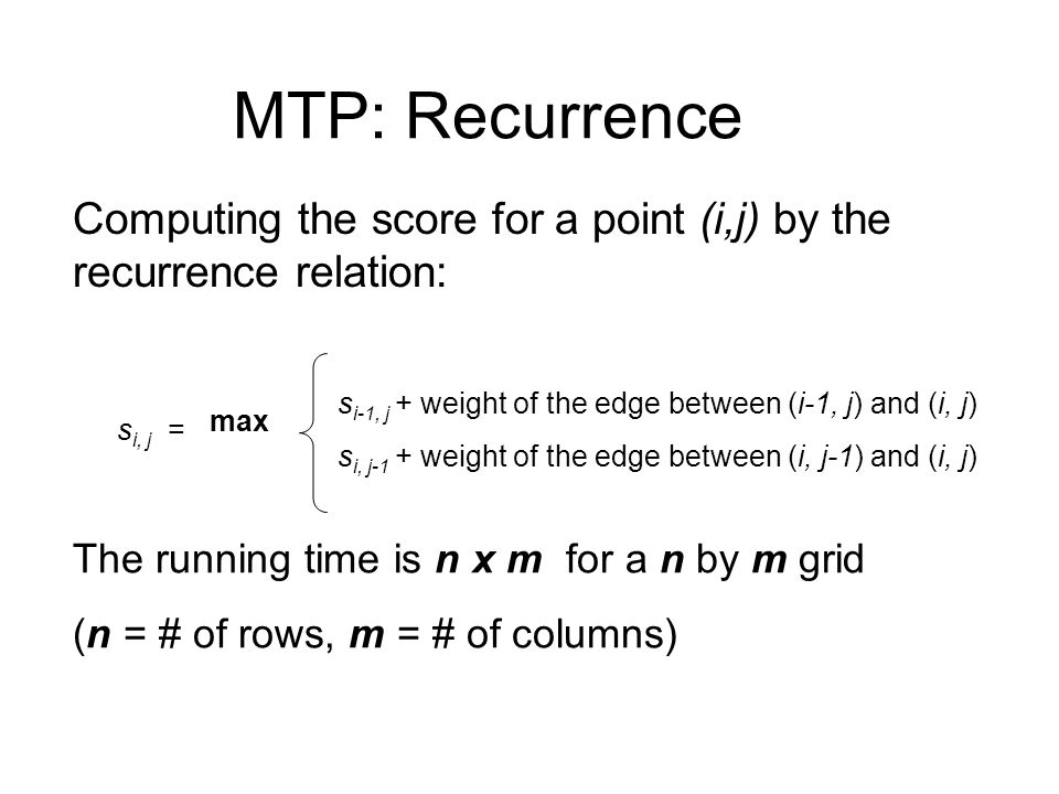 MTP: Recurrence Computing the score for a point (i,j) by the recurrence relation: si, j = max.
