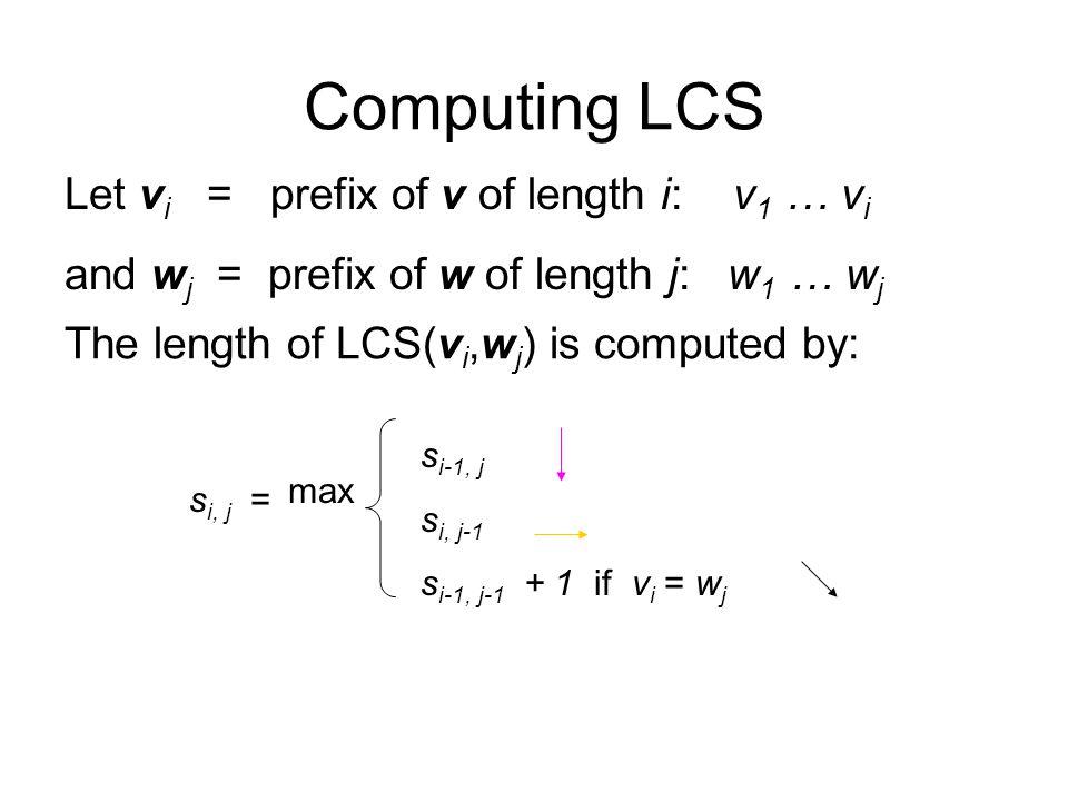 Computing LCS Let vi = prefix of v of length i: v1 … vi