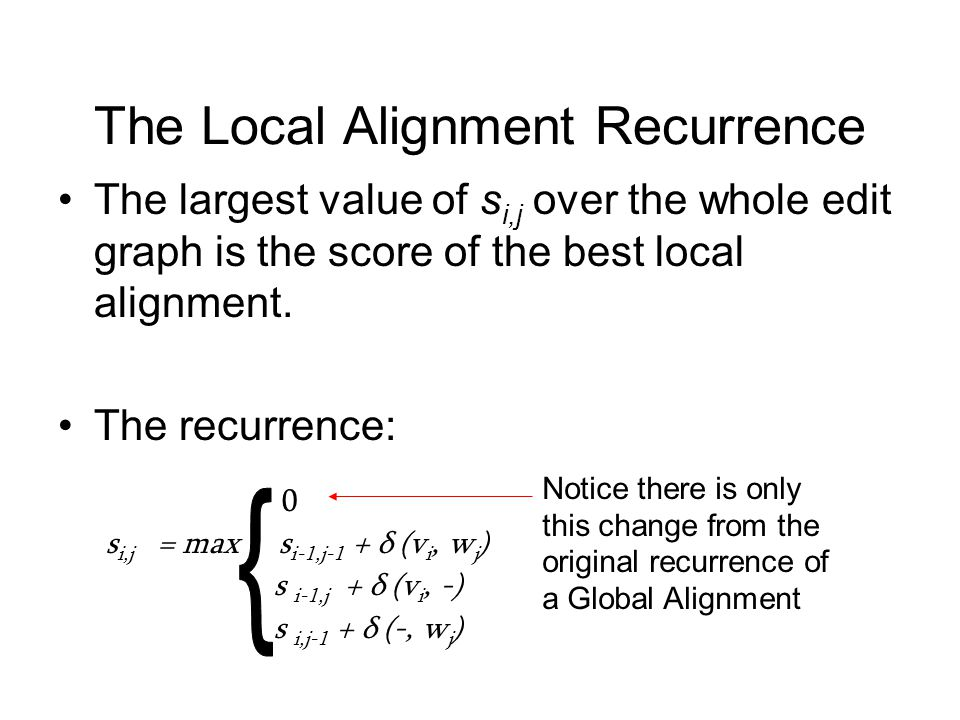 The Local Alignment Recurrence