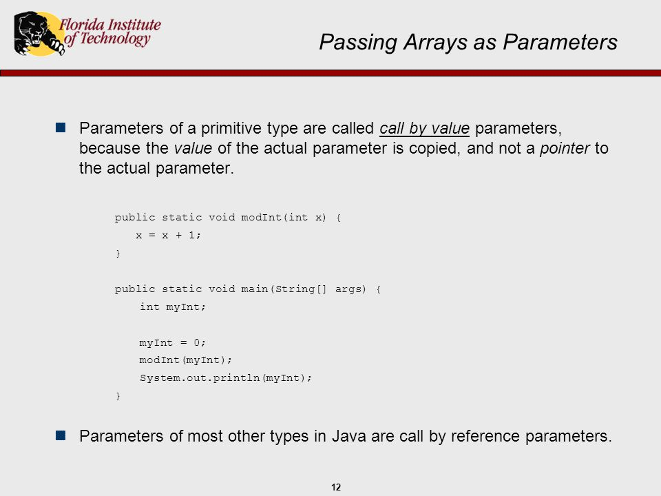 Passing Arrays as Parameters