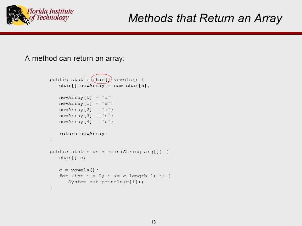 Methods that Return an Array