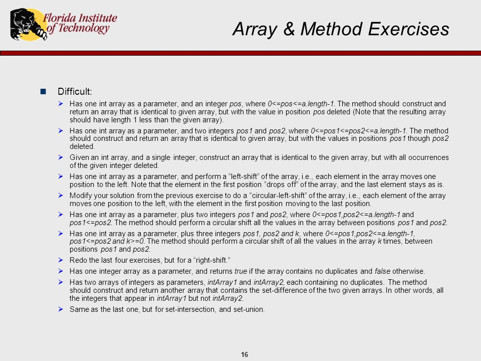 Array & Method Exercises