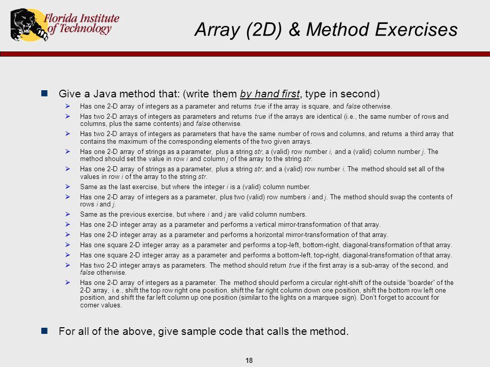 Array (2D) & Method Exercises