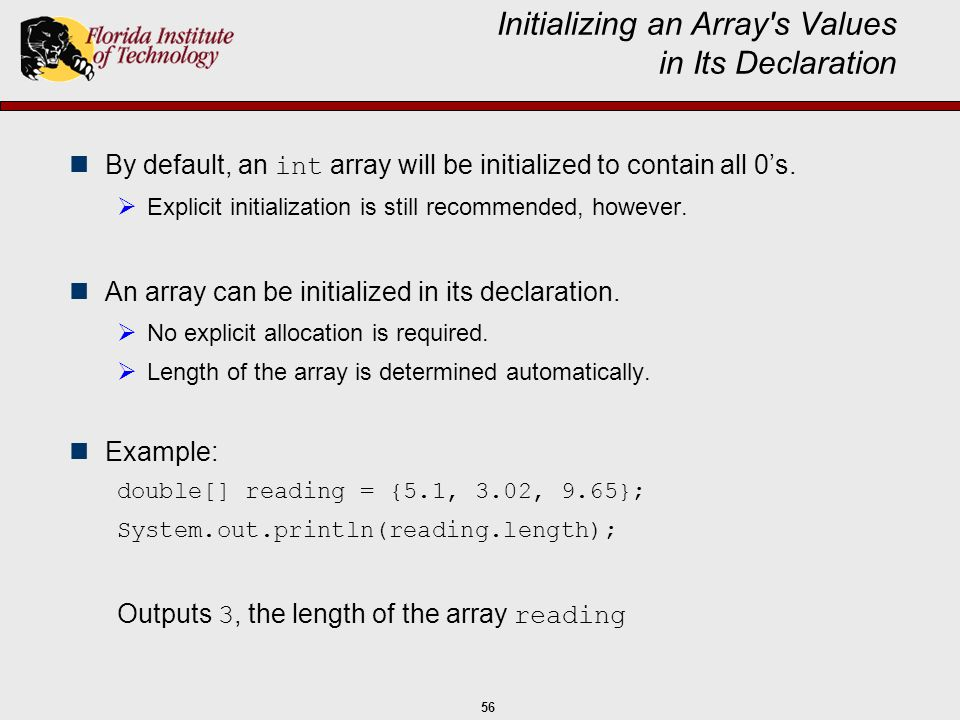 Initializing an Array s Values in Its Declaration