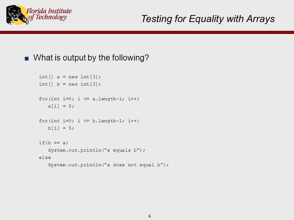 Testing for Equality with Arrays