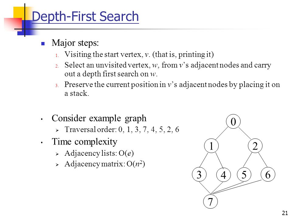 Depth-First Search 1 2 3 4 5 6 7 Major steps: Consider example graph