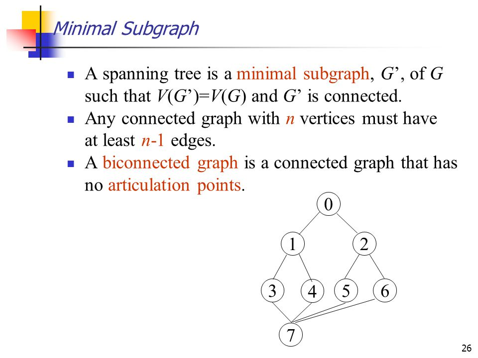 Minimal Subgraph A spanning tree is a minimal subgraph, G', of G such that V(G')=V(G) and G' is connected.