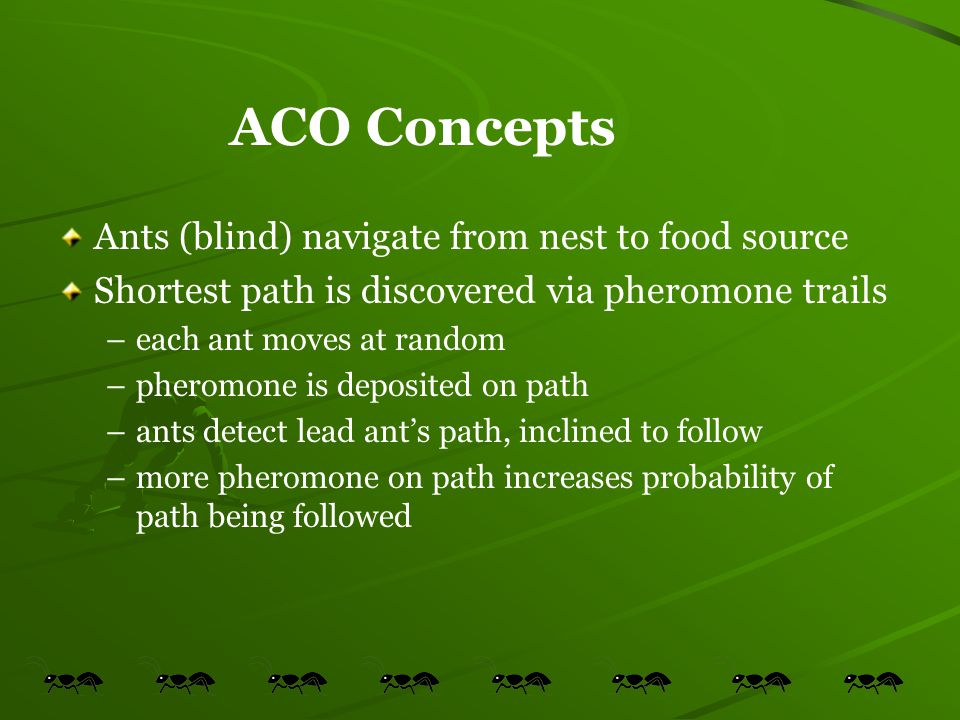 ACO Concepts Ants (blind) navigate from nest to food source