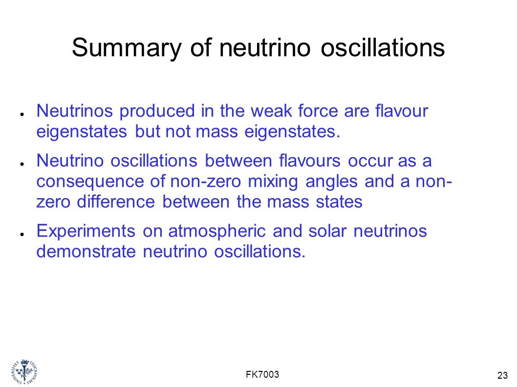Summary of neutrino oscillations