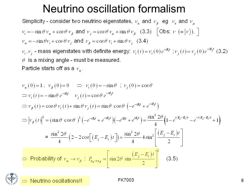 Neutrino oscillation formalism