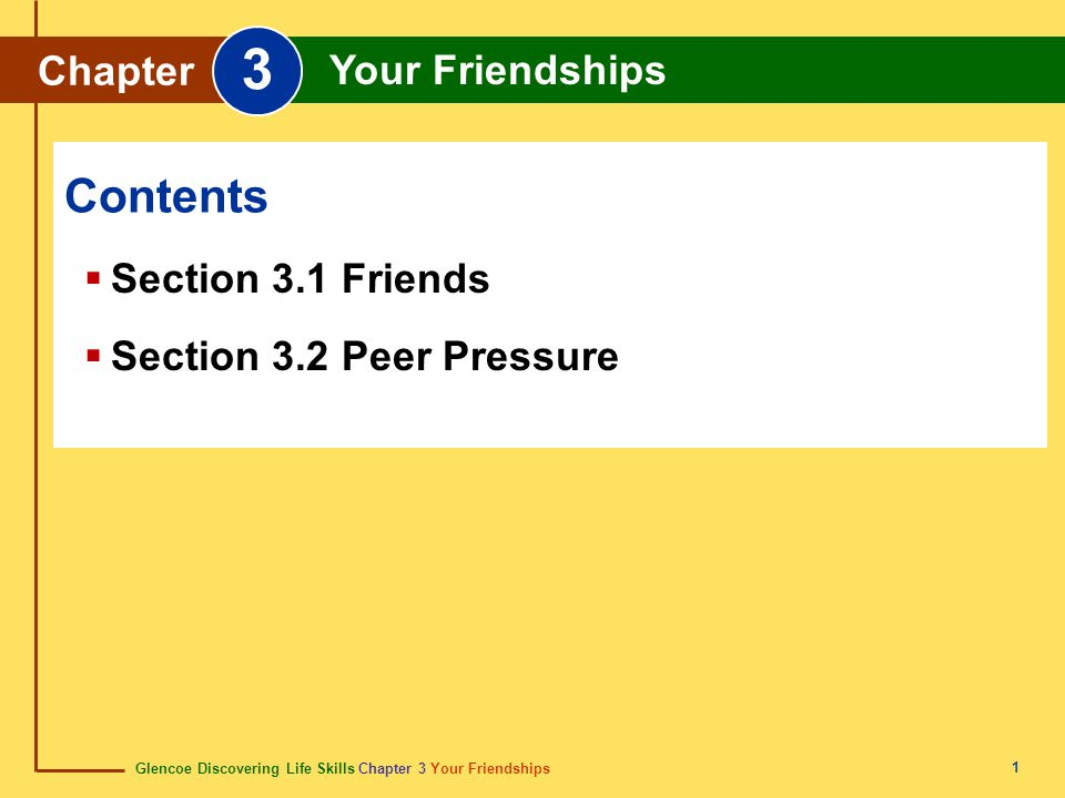 3 Contents Chapter Your Friendships Section 3.1 Friends