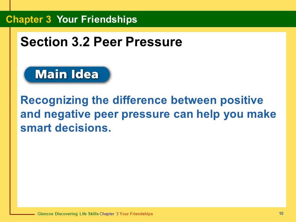 Section 3.2 Peer Pressure Recognizing the difference between positive and negative peer pressure can help you make smart decisions.