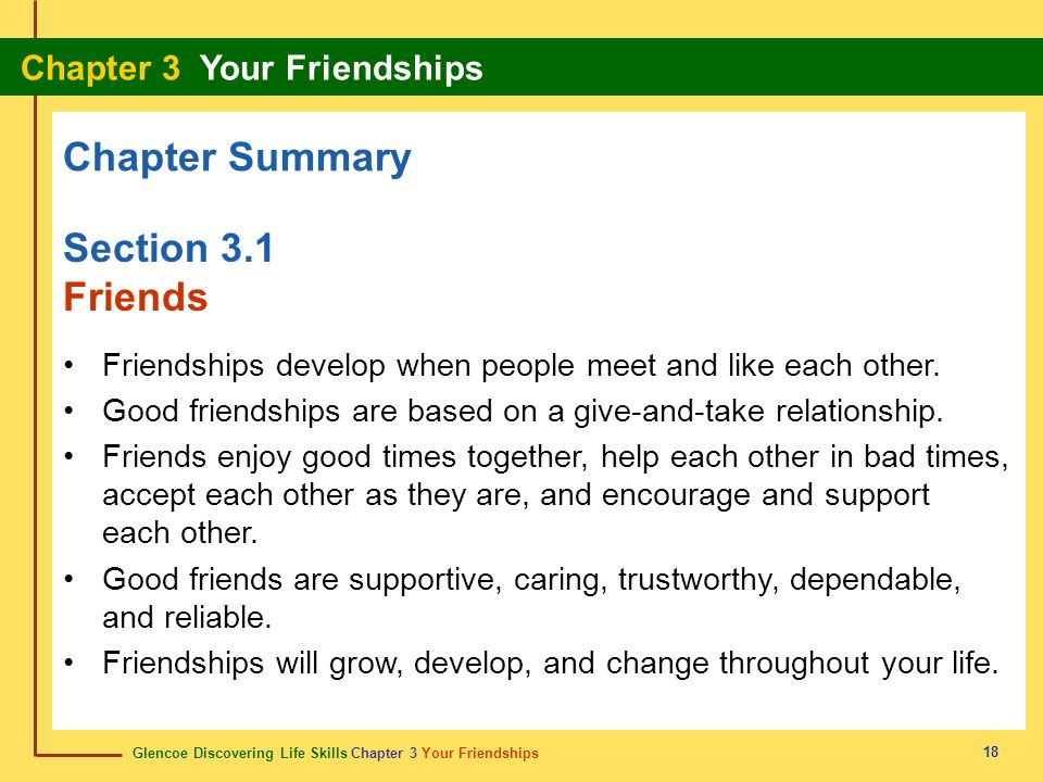 Chapter Summary Section 3.1 Friends