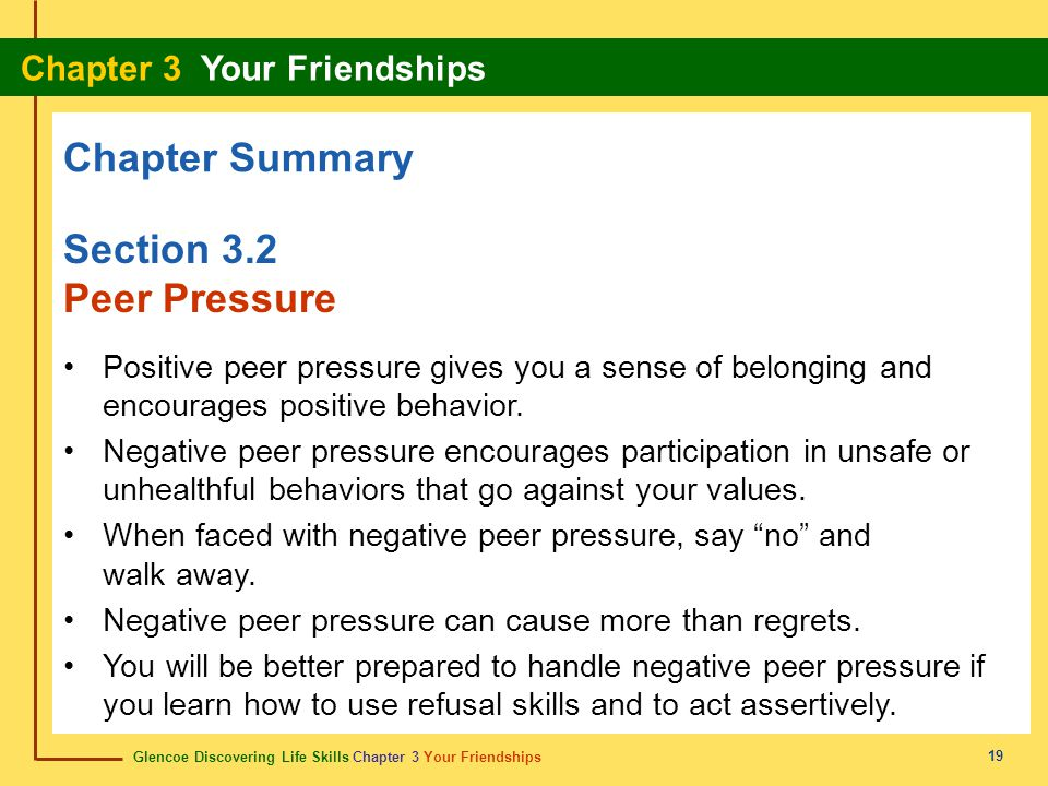 Chapter Summary Section 3.2 Peer Pressure