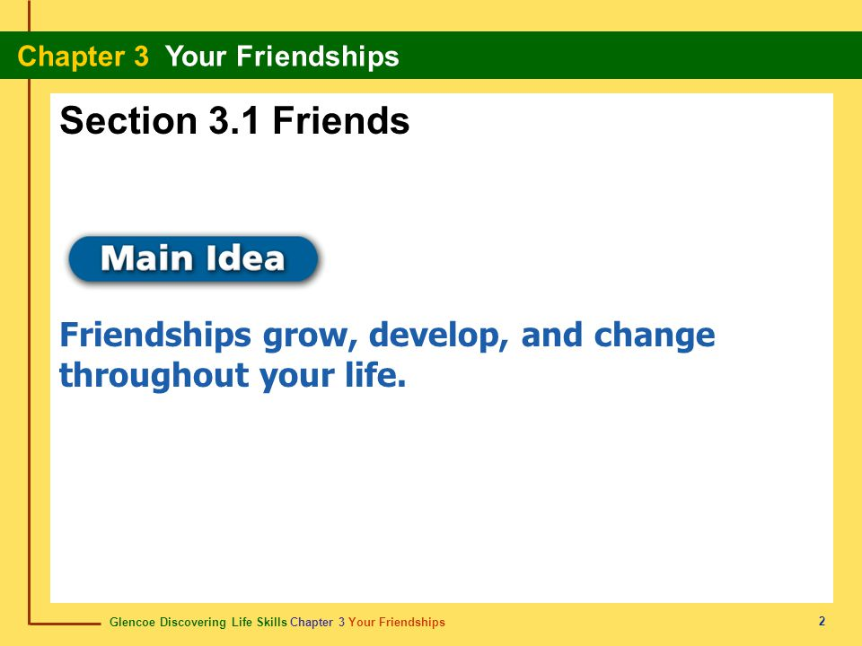 Section 3.1 Friends Friendships grow, develop, and change throughout your life. 2