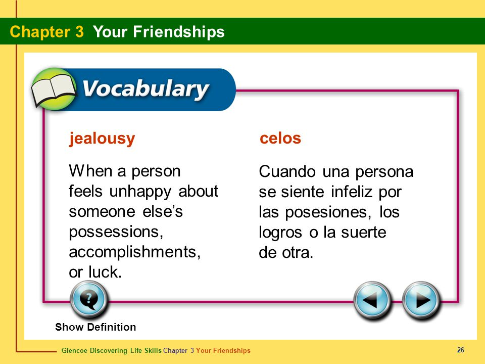 jealousy celos. When a person feels unhappy about someone else's possessions, accomplishments, or luck.