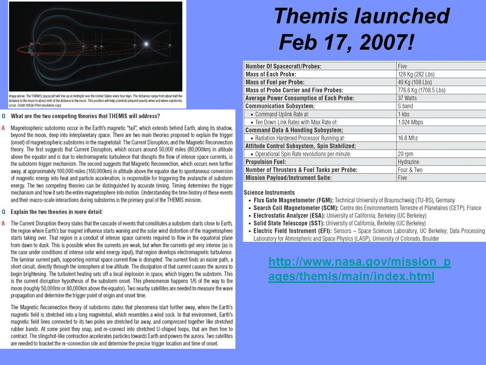 Themis launched Feb 17, 2007! http://www.nasa.gov/mission_pages/themis/main/index.html