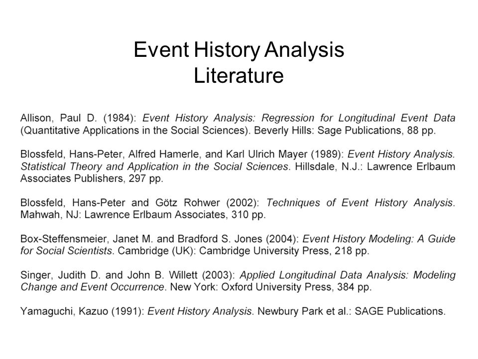 Event History Analysis Literature