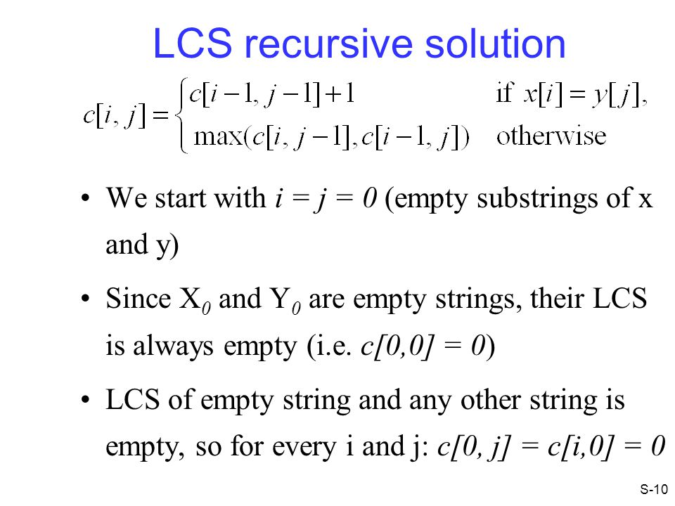 LCS recursive solution