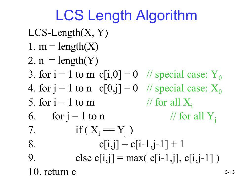 LCS Length Algorithm LCS-Length(X, Y) 1. m = length(X)