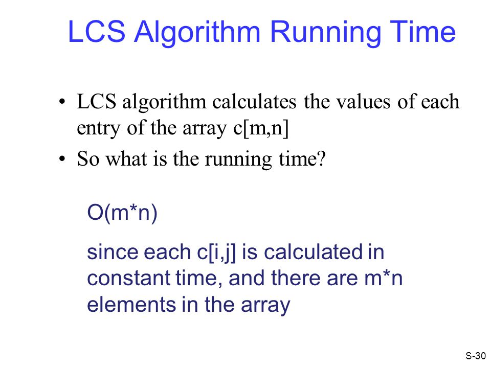 LCS Algorithm Running Time