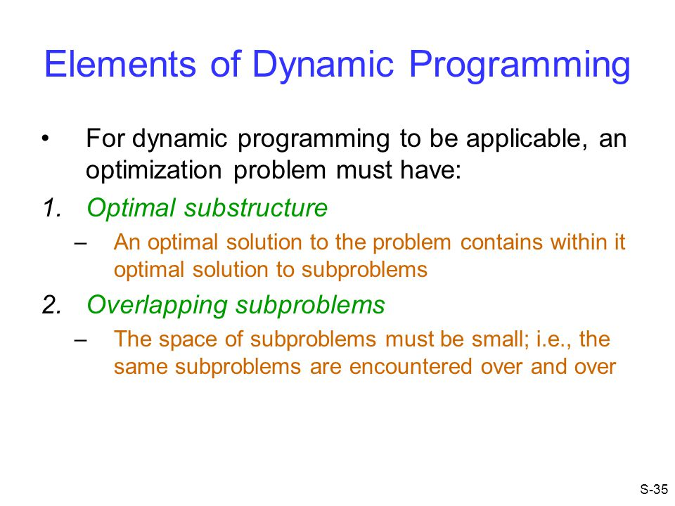 Elements of Dynamic Programming