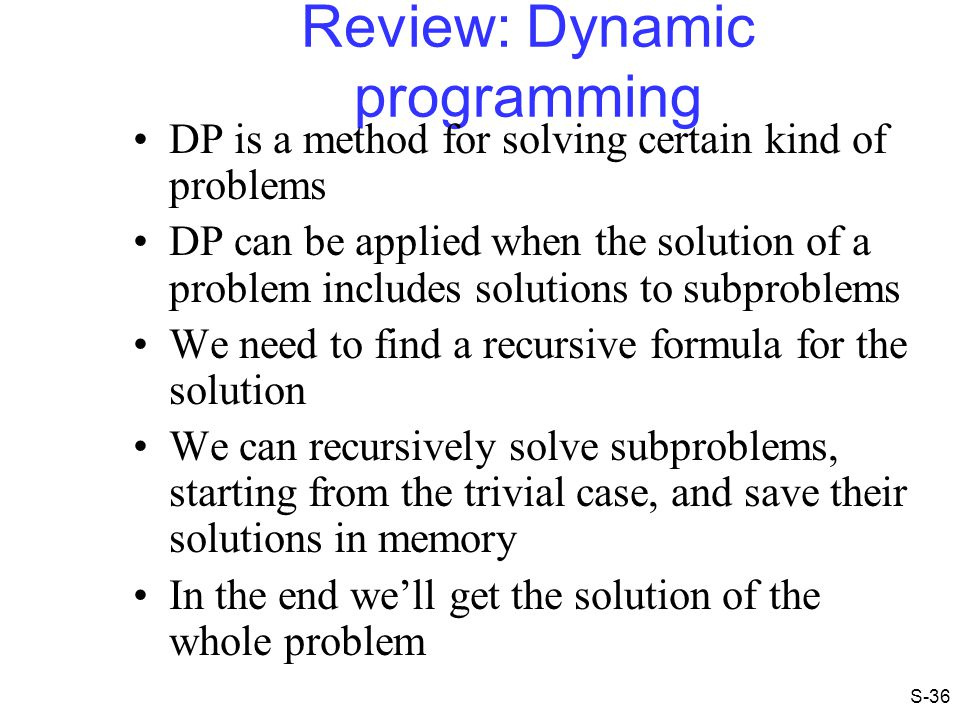 Review: Dynamic programming
