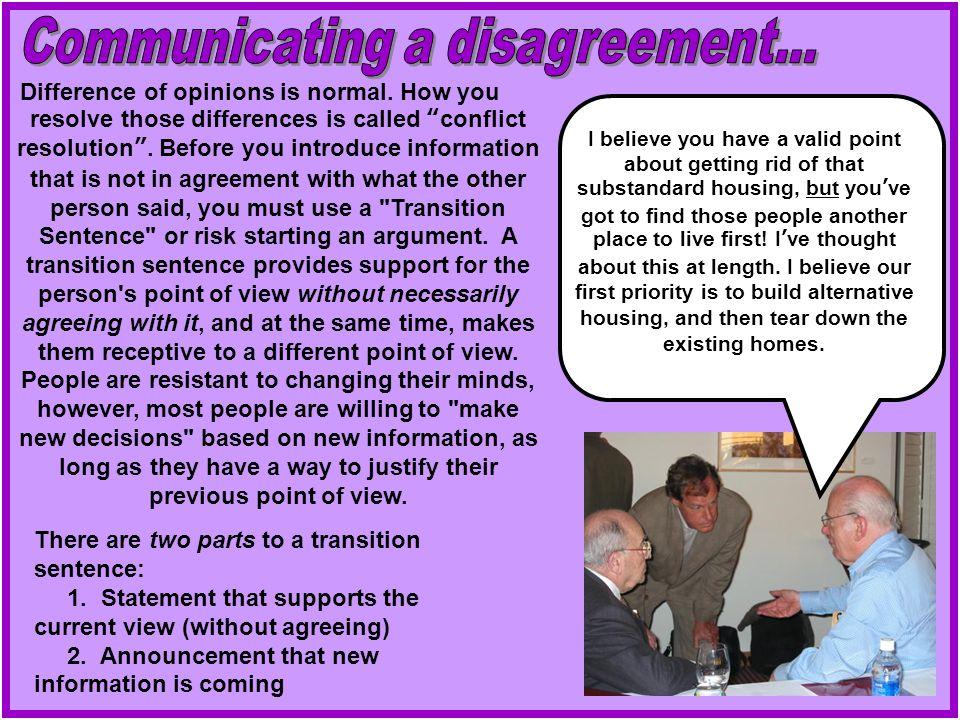 Communicating a disagreement...