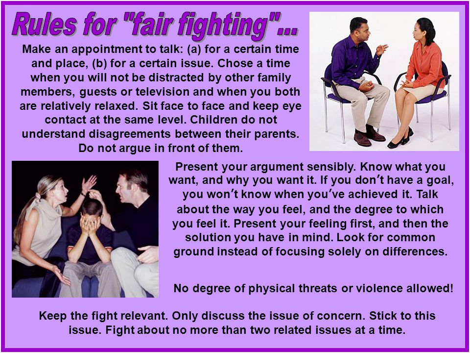 Rules for fair fighting ...