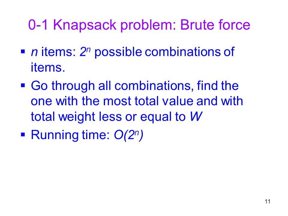 0-1 Knapsack problem: Brute force