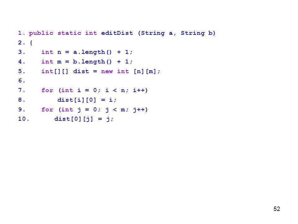 public static int editDist (String a, String b)