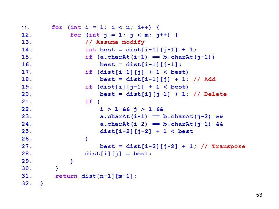 for (int j = 1; j < m; j++) { // Assume modify