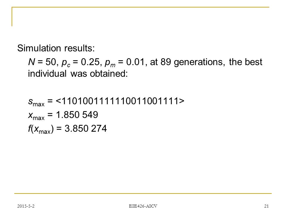 Simulation results: N = 50, pc = 0.25, pm = 0.01, at 89 generations, the best individual was obtained:
