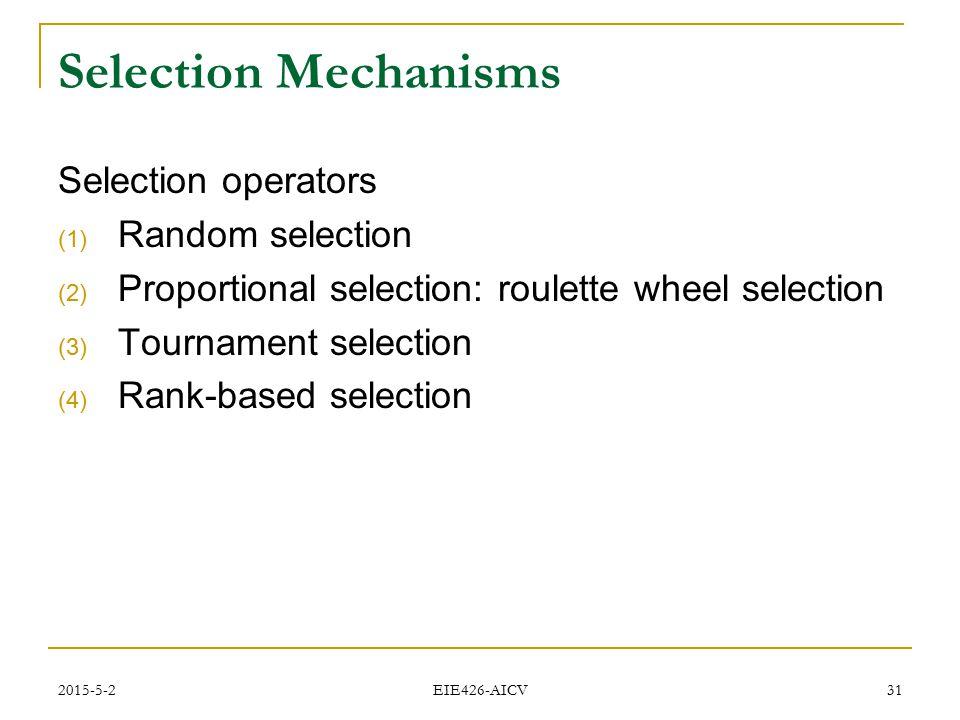 Selection Mechanisms Selection operators Random selection