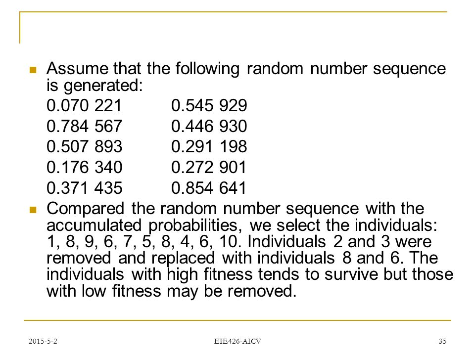 Assume that the following random number sequence is generated: