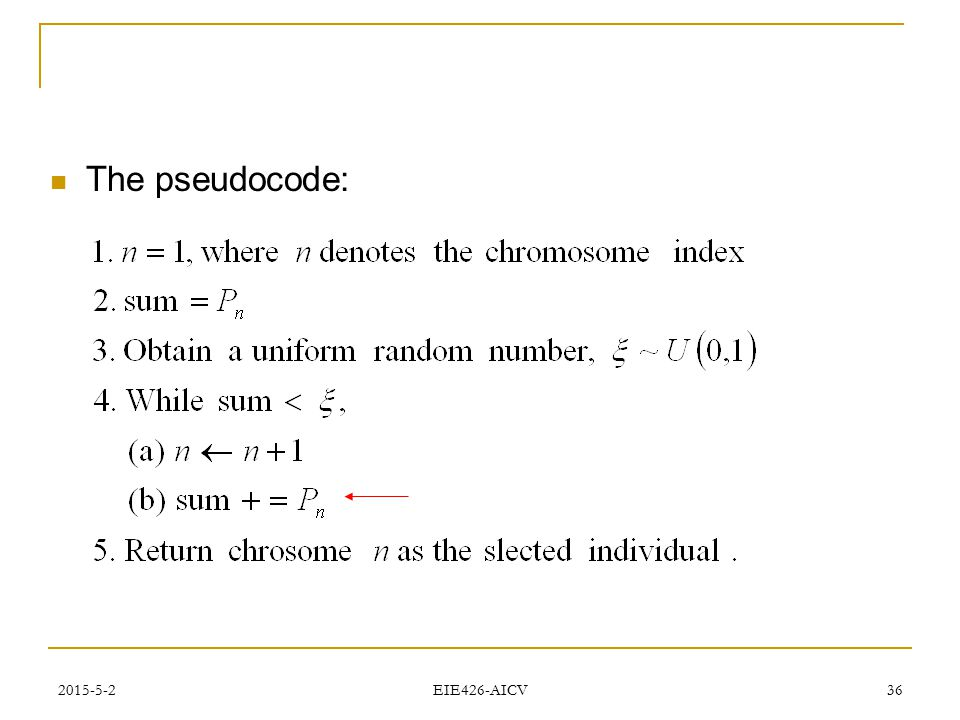 The pseudocode: 2017/4/14 EIE426-AICV