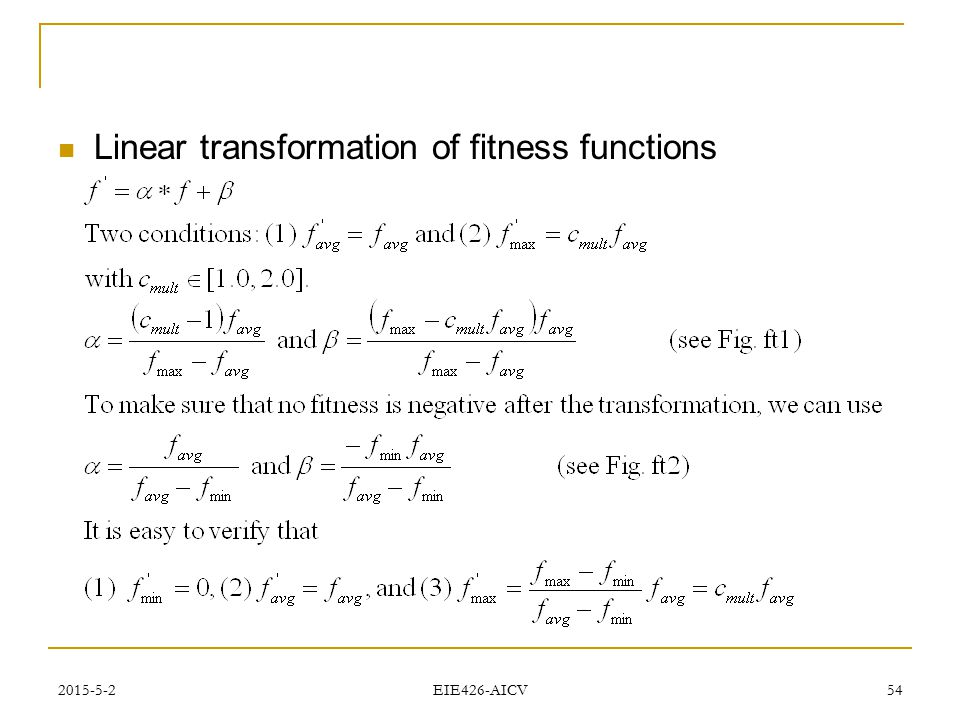 Linear transformation of fitness functions