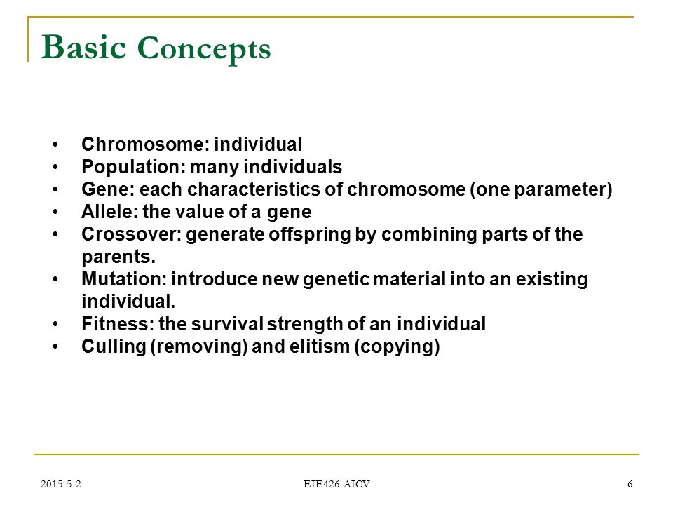 Basic Concepts Chromosome: individual Population: many individuals