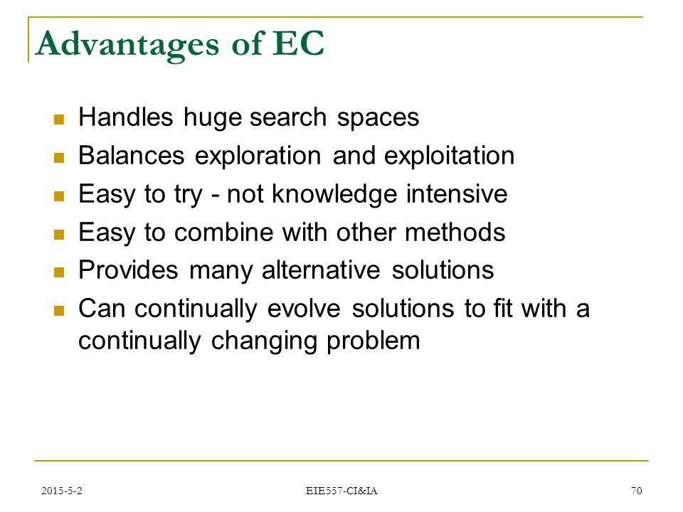 Advantages of EC Handles huge search spaces