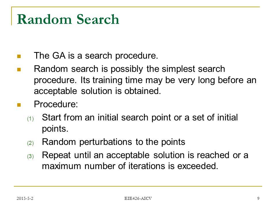 Random Search The GA is a search procedure.