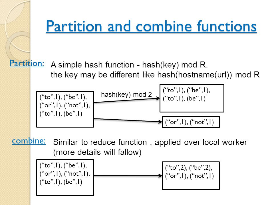 Partition and combine functions