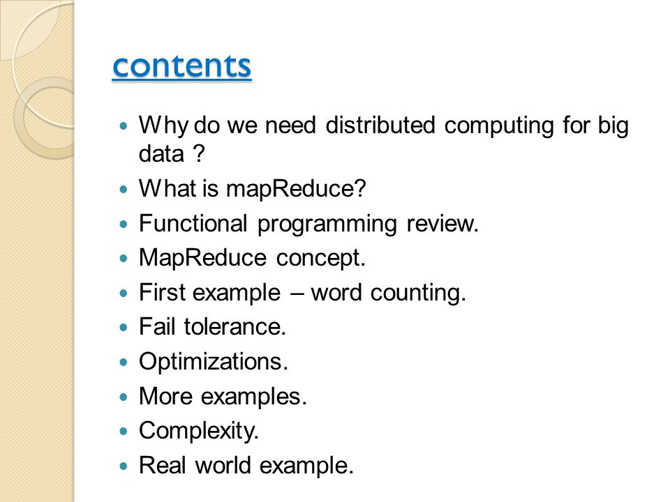 contents Why do we need distributed computing for big data